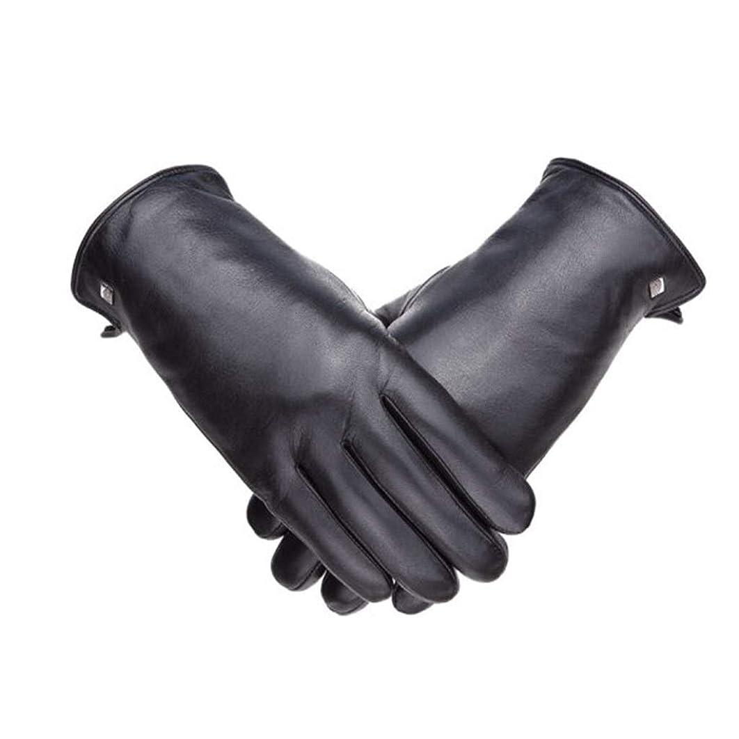 統計とは異なりマイク革の肥厚プラスベルベット柔らかなヤギの男性の手袋防風寒い冬暖かい手袋を乗って19841101-01B黒XXL