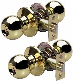 Master Lock Keyed Entry Door Lock, Ball Style Knob, Polished Brass, BAO0103T (Pack of 2-Keyed Alike)