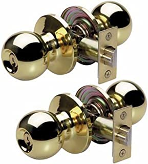 Master Lock Keyed Entry Door Lock, Ball Style Knob, Polished Brass, BAO0103T (Pack of 2-Keyed Alike)