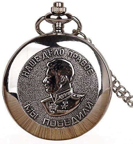 LXLH Taschenuhr und Kette, neues Porträt von Stalin des russischen Führers Taschenuhren Halskette Kettenanhänger Silber Taschenuhren Geschenke für Männer Frauen, Silber
