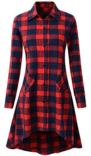 OLRAIN Womens New Plaids Irregular Hem Casual Shirt Dress (X-Large, Nred)