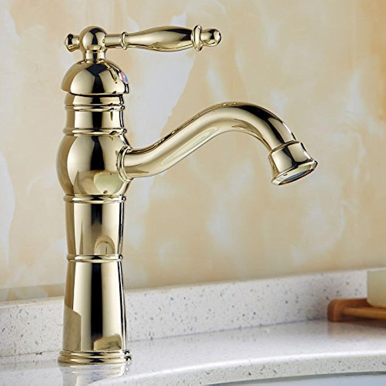 QIMEIM Waschtischarmatur Wasserhahn Bad Waschtisch Messing verGoldet Einhebelsteuerung einzelne Bohrung Heies und Kaltes Wasser Badenzimmer Waschbeckenarmatur