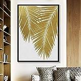 SADHAF Resumen lámina de oro acuarela textura lienzo pintura minimalista planta de arte impresión de la pared dormitorio sala de estar decoración del hogar A6 70X100cm