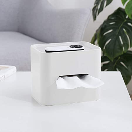 Apricot Tissue Dispenser Box Multifunction Facial Tissue Holder Dispenser Remote Control Holder Paper Storage Collection Tools for Living Room Bedroom Dressers Kitchen