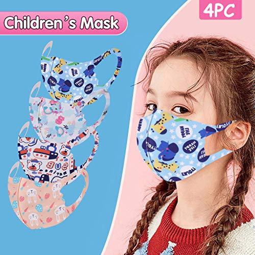 Gesichtsschutzschild 3D, Mundschutz,Atemschutz Mundschutz Mund und Nasenschutz,Mehrweg Atmungsaktiv Stoffmasken Halstuch Bandana Tuch, Mund und Nasenschutz Für Kinder 4PCS!
