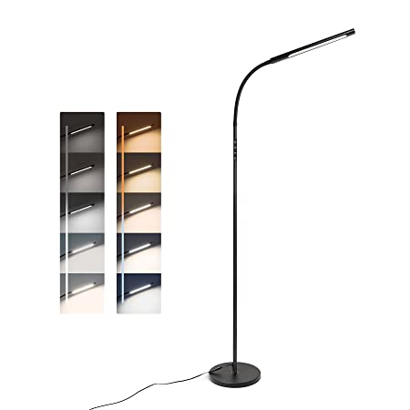 Tomons LED Lampadaire Dimmable, Réglage Progressif de la Luminosité et de la Température de Couleur, Contrôle Tactile, 12W, avec Minuterie et Fonction Mémoire, Col Flexible, Noir