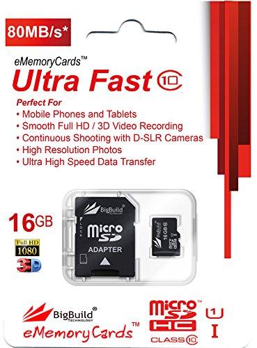 BigBuild Technology 16GB Ultra-schnell-Klasse 10 80MB/Sek. MicroSD Speicherkarte für THL T100S Mobile, SD Adapter im Lieferumfang enthalten