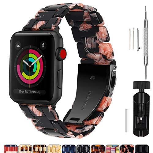 Cinturino per Apple Watch 38 mm/40 mm/42 mm/44 mm, cinturino brillante per iWatch serie 5/4/3/2/1, Hermès, Nike+, Edition, Sport, 44mm, Rosa nera (struttura nera)