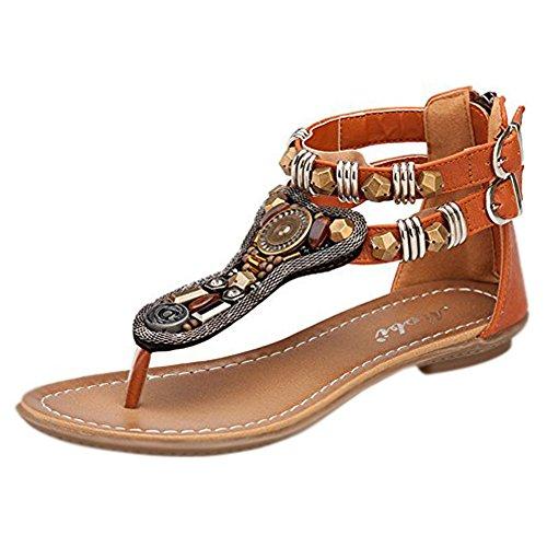 Minetom Mujer Verano Roman T-Correa Sandalias Diamante De Imitación Chanclas Sólido Cremallera Plana Con Tanga Zapatos Marrón EU 37