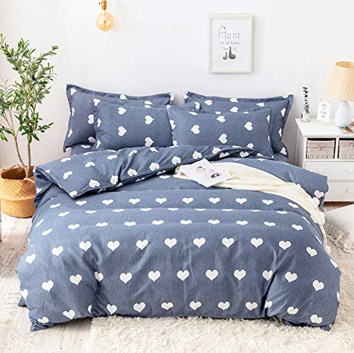 DUIPENGFEI Skin-Kissed Cotton Twill Thickened Down Duvet Set Four-Piece Set, Comfortable Soft, Blue Heart, King Size Duvet Set 220×240Cm