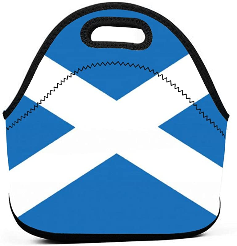KUipm Scotland Flag Lunch Bag Tote Handbag Neoprene Lunchbox Food Container Tribal Feathers And Arrows Printed Insulated Gourmet Tote Cooler Warm Pouch For Women Men Kids For School
