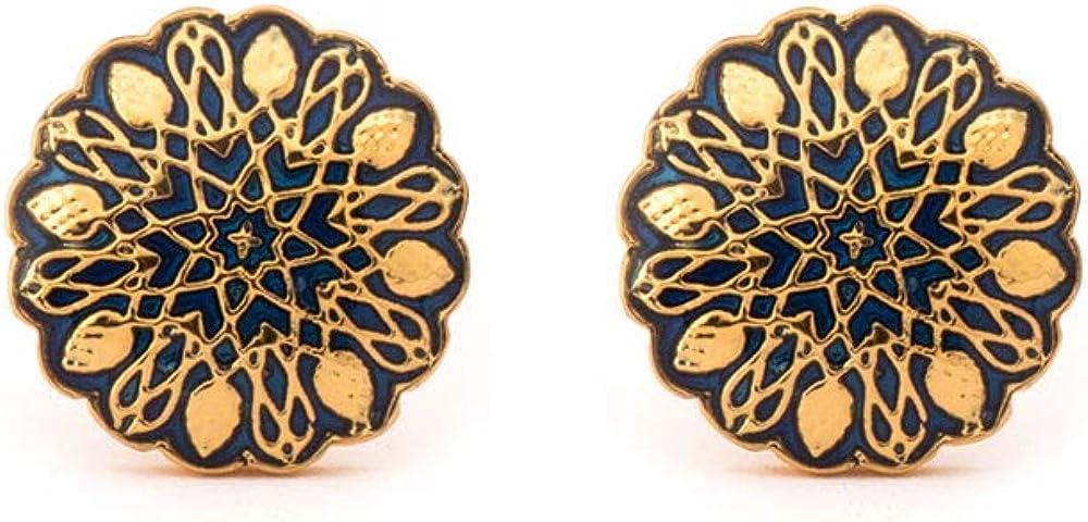 Rosec Jewels Classic Mughal Toggle Back Cufflinks, Enamel Wedding Groom Cuff Link and Tie Clips, Gold Plated Vintage Cufflinks, Black Engrave Swank Brass Cufflinks