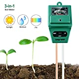 Longruner Soil Moisture PH Meter, 3-in-1 Plant Moisture Sensor Meter/Light/PH Tester for Home, Garden, Lawn, Farm, Indoor/Outdoor (No Battery Needed) LKP03