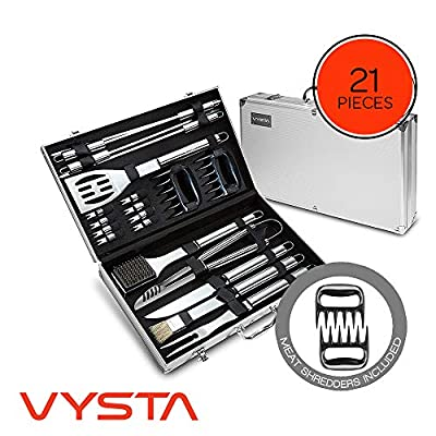 Vysta 21 Piece Grill Accessories Tools Set - BBQ Utensils with Carrying Case - Stainless Steel Outdoor Cooking Grilling - Barbeque Kit Includes Brushes, Flat Spatula, Barbecue Scraper and Meat Tongs