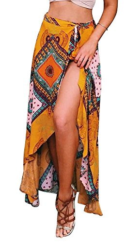 RUIGO Women's High-Waisted Boho Asymmetrical Hem Tie up Long Maxi Print Wrap Skirt US 4-8 Yellow