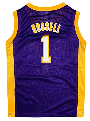 D'Angelo Russell Los Angeles Lakers #1 Purple Boys Player Jersey (X-Small 4/5)