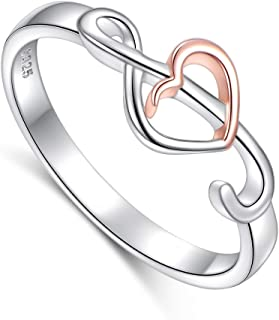 Two Tone 925 Sterling Silver Musical Jewelry Heart Music Note Treble Clef Ring for Women Teen Girls