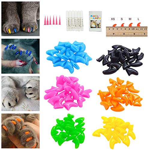 Fanme Cat Nail Caps Rubber Pet Paws Covers Claws Care