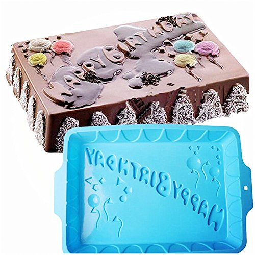 FantasyDay® Silikon Backform/Muffinform für Muffins, Cupcakes, Kuchen, Pudding, Eiswürfel und Gelee- Alles Gute zum Geburtstag backform für eindrucksvolle Kreationen, hochwertige Silikon-Kuchenform