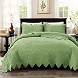 HJTLK Quilted Bedspread Quilts Bed Throws 100% Cotton Comforter Double Coverlets Multifunction Embroidered Quilt 3 Pcs Beding Sets Bed Cover Blanket with 2