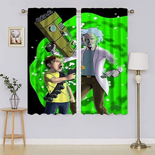 Rick and Morty Cortinas para oscurecer la habitación con aislamiento térmico para mantener el calor, cortinas para ventanas de dormitorio de 196 x 1177 cm