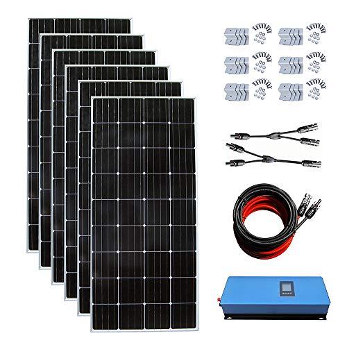 ECO-WORTHY 1000W Kit de Sistema Solar de Corbata para niña, 6 Paneles solares de 150 W de Carga 12 V de energía para casa