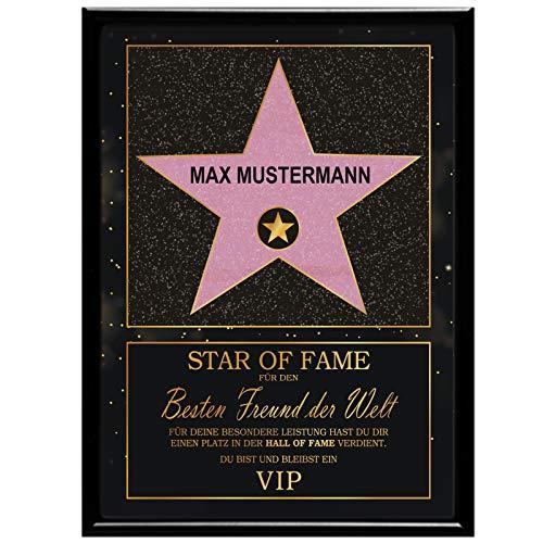 Multionline Star of Fame- Hollywood Stern im Walk of Fame-Design für den besten Freund – Personalisiert (mit Wunschnamen) inkl. Bilderrahmen