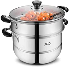 MSWL Steamer 26cm Stainless Steel Double-layer Steamer Double Bottom Can Be Steamed And Boiled, Induction Cooker Gas Stove...