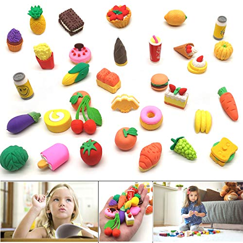 YuChiSX 33 Piezas de Borradores en Alimentos Coloridos Gomas de Borrar, Gomas de borrar 3D, Novedad Estilo de Comida Lápiz Borradores de Goma, Postre de Fruta Vegetal Borradores de Fiesta