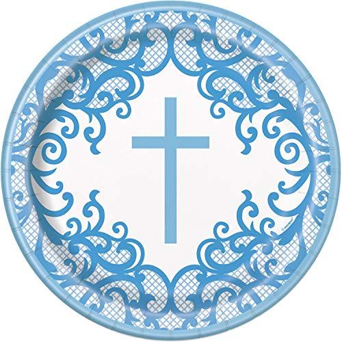 Unique Party 74795 Blue Holy Communion Round Dinner Plates | 9' 8 Pcs