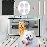 Nifogo Magic Pet Safety Gate Barrera De Seguridad para Mascotas PortáTil Y Plegable Safe Guard Cerramiento De Seguridad para Mascotas Dog Cat Fences Negro(110X72Cm)
