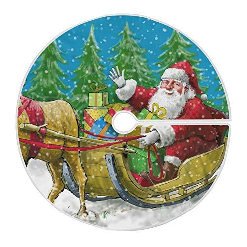 XiangHeFu Falda de árbol de Navidad para decoración navideña Festiva de 35,4 Pulgadas / 90 cm, Reno de Montar a Caballo de Papá Noel