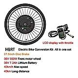 """HBRT Kit di conversione Ruota Anteriore, Kit di conversione Bici elettrica 36V 350W con 24"""" 26"""" 27.5"""" 29"""" 700C rotelle, Wire e Display LCD,Disc Brake,27.5"""""""