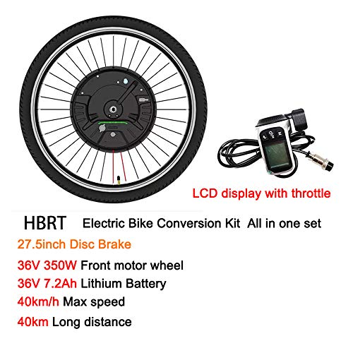HBRT Kit di conversione Ruota Anteriore, Kit di conversione Bici elettrica 36V 350W con 24' 26' 27.5' 29' 700C rotelle, Wire e Display LCD,Disc Brake,27.5'