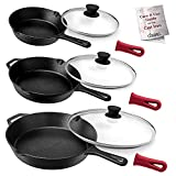 """Cuisinel Cast Iron Skillet Set - 8""""+10""""+12""""-Inch + Glass Lids + Silicone Handle Holder Covers - Pre-seasoned Frying Pans - Oven Safe Cookware - Indoor/Outdoor Use - Grill, Stovetop, Induction Safe"""