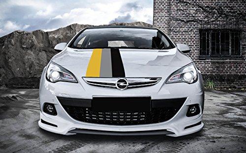 snstyling.com Aufkleber passend für Opel Motorsport Rally Streifen Aufkleber 45cm x 125cm (Gelb – Schwarz – Grau)