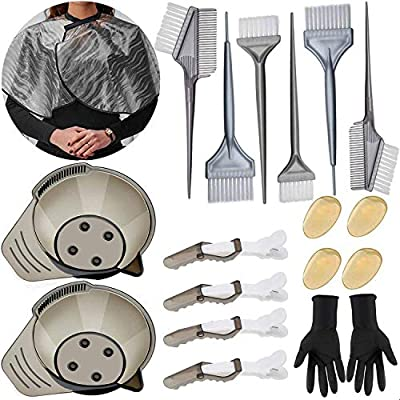Hair Dye Brush and Bowl Set - 20 Pieces Hair Dye Kit, Including Hair Color Brush and Bowl Set, Hair Dye Gloves, Ear Cover for Hair Coloring Bleaching DIY Salon and Home Hair Coloring Hair Dryers