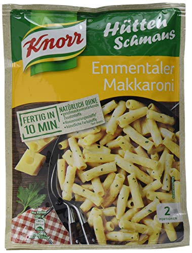 Knorr Hüttenschmaus Emmentaler Makkaroni Nudel-Fertiggericht 2 Portionen (1 x 500 ml)