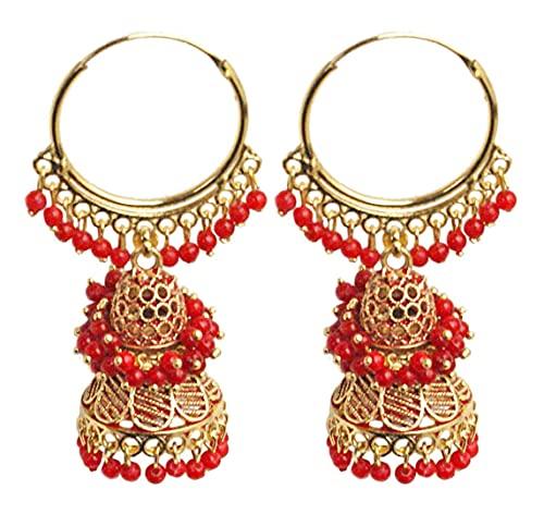 Pahal Ethnic Bollywood Jaipur Red Cluster Pearl Pintado Indian Long Gold Jhumka Pendientes de aro Jhumki Joyería nupcial para mujer