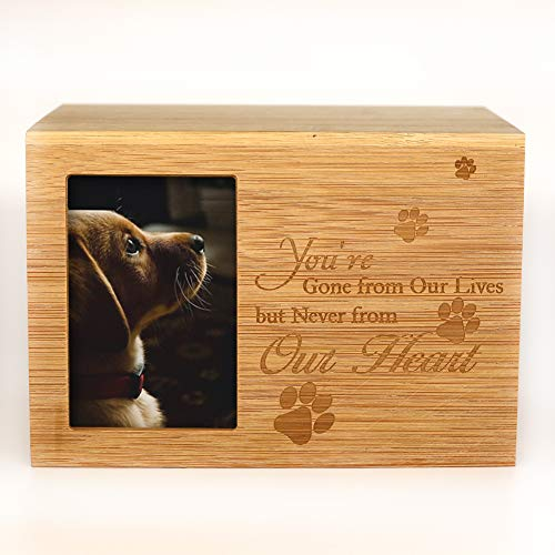 "ENBOVE Cremation Urns for Ashes,Pet Memorial Keepsake Urns,Photo Box Pet Cremation Urn,Burly Wood Keepsake Urns for Dogs Ashes,Wooden Urn 4.3 X 4.3 X 4.3 (6.3"" X 4.3""X 4.3"", Burlywood)"