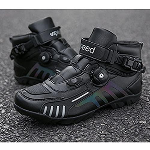 Botas de Moto para Hombre Zapatos de Motociclista Bota Transpirable de Alto Pelado Zapatos Impermeables de Motocicleta para Mujer Zapatilla con Hebilla Giratoria,Black-41