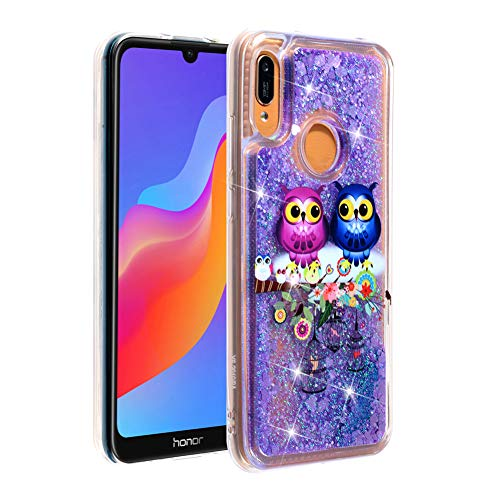 HMTECHUS Honor 8A Case Glitter Liquid Sparkle Floating Shiny Quicksand Clear Soft TPU Silicone Shockproof Protective Bumper Thin Cover Skin for Huawei Y6 2019 / Honor 8A Bling Couple Owl XY