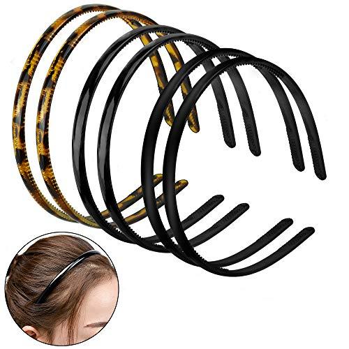 GOLRISEN 6 Stücke Haarreifen Damen Dünn Haarband Kunststoff Stirnband Haarreif Stirnbänder Zähne mit Leopardenmuster Mattes und Glattes Schwarz Einfach Haarschmuck für Frauen Mädchen Herren