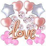 Herefun 27 Piezas LOVE Globos Set, Globos Amor para Helio, Oro Rosa Confetti Dorado Globos para Bodas, Cumpleaños, San Valentín Decoración, Fiestas