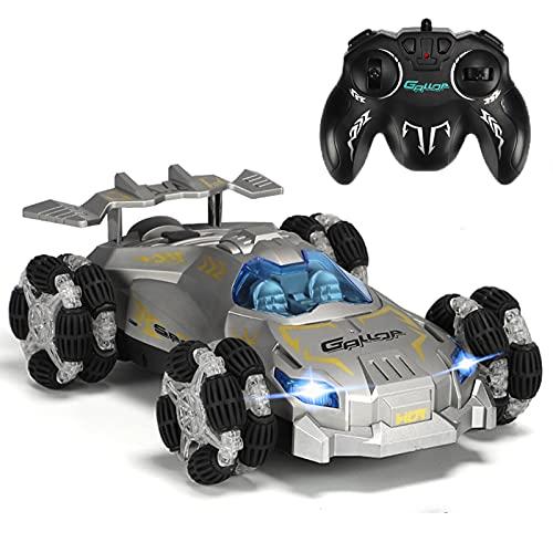 Maegoo Ferngesteuertes Auto, 2,4GHz Renn Stunt RC Auto mit LED Licht, 360° Rollendes Drift Sprühen Auto, Wiederaufladbares 4WD High Speed Geländewagen Auto für Kinder Spielzeug Geburtstagsgeschenk