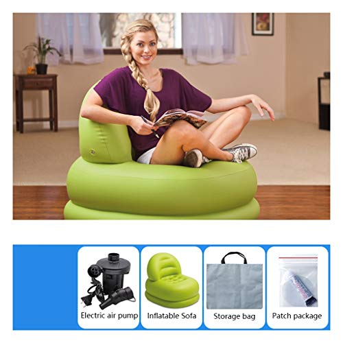 Opblaasbare Recliner Opblaasbare Sofa Modern Lazy Balkon Air Cushion Recliner Single Creative Mini Opblaasbare kleine bank Green (Color : D)