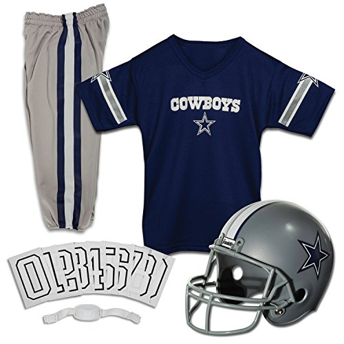 Franklin Sports Dallas Cowboys Kids Football Uniform Set - NFL Youth Football Costume for Boys & Girls - Set Includes Helmet, Jersey & Pants - Small