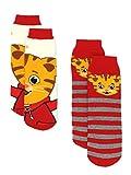 Daniel Tiger Boys Girls 2 pack Slipper Socks with Grippers (Small/Medium, Red/Multi)