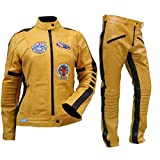 Fashion_First Uma Thurman Kill Bill The Bride Costume de motard en cuir jaune pour femme -...