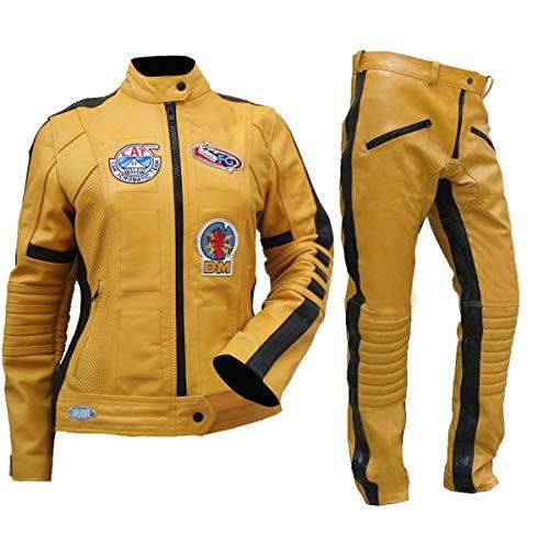 Fashion_First Uma Thurman Kill Bill The Bride - Disfraz de motorista amarillo para mujer, chaqueta y pantalones de piel